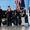 President Obama and Hillary Clinton after his remarks during the ceremony at Joint Base Andrews, marking the return to the United States of the remains of J. Christopher Stevens, U.S. Ambassador to Libya; Sean Smith, Information Management Officer; and Security Personnel Glen Doherty and Tyrone Woods, who were killed in the attack on the U.S. Consulat