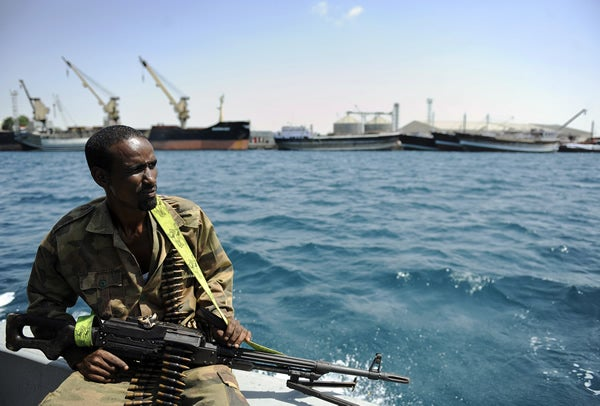 Amid growing threats of piracy, a Somali coastguard returns from a patrol off the coast on April 30, 2011