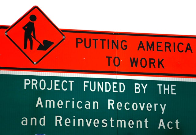 A sign announces a section of road work funded by the American Recovery and Reinvestment Act U.S. economic stimulus plan in the Denver area