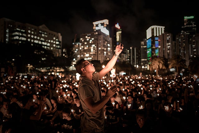 Around 200,000 people were set to take part in a candlelight vigil in Hong Kong on June 4 to commemorate the 25th anniversary. (Photo: Newscom)