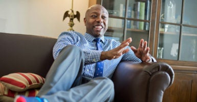 Sen. Tim Scott, R-S.C., is encouraging his Senate colleagues to hire qualified minority staffers. Four Senate Republicans and one Senate Democrat have a top staffer who is black. (Photo: Tom Williams /CQ Roll Call/Newscom)