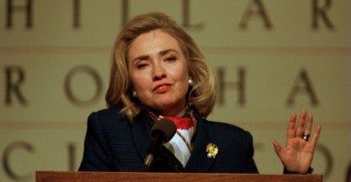 First Lady Hillary Rodham Clinton makes a speech to an Arkansas crowd in 1996. (Photo: Jim Middleton UPI Photo Service/Newscom)