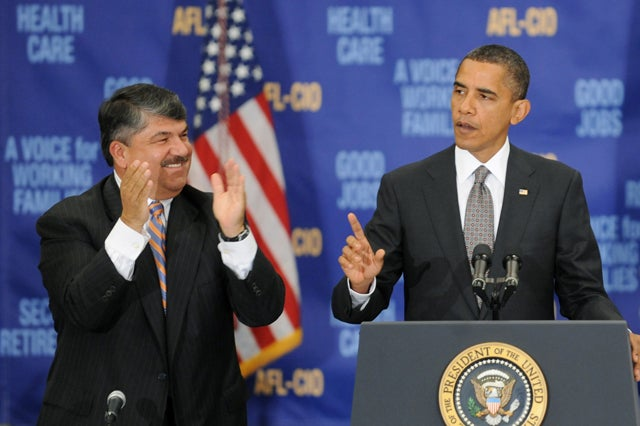 President Obama and Richard Trumka of AFL-CIO