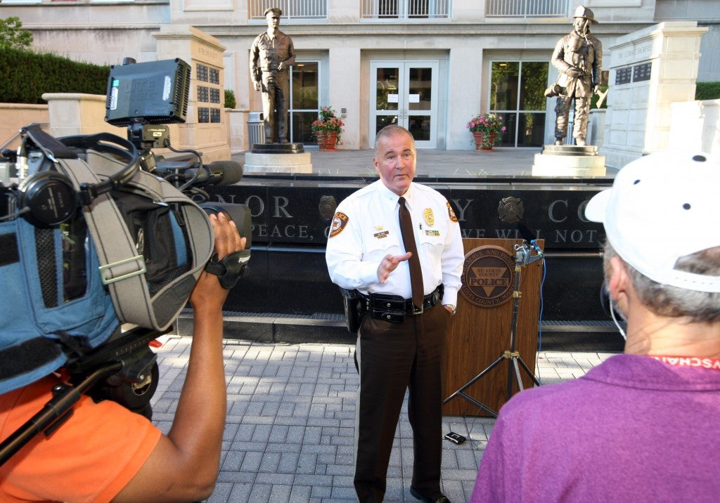 St. Louis County Police Chief Jon Belmar briefs reporters on the recent shooting during a riot on August 12.