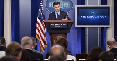 'We are at war': White House Press Secretary Josh Earnest (Photo: Kevin Dietsch/Newscom)