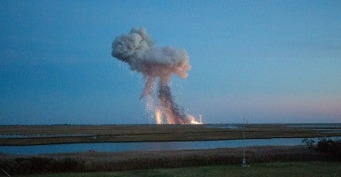 Orbital Sciences Corp.'s Antares rocket, with the Cygnus spacecraft onboard, blows up upon launch from Wallops Island. (Photo: Joel Kowsky/NASA/Newscom)
