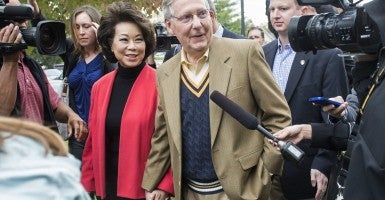 Mitch McConnell, R-Ky, and his wife Elaine Chao. (Photo: Kevin Dietsch/Newscom)