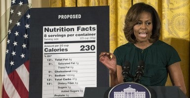 First lady Michelle Obama announces proposed changes to the Nutrition Facts labels of foods in February 2014. (Photo: UPI/Pat Benic/Newscom)