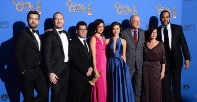 "Showtime's ""The Affair"" co-creator Sarah Treem and the rest of the cast during the 72nd annual Golden Globe Awards. (Photo: Jim Ruymen/UPI/Newscom)"
