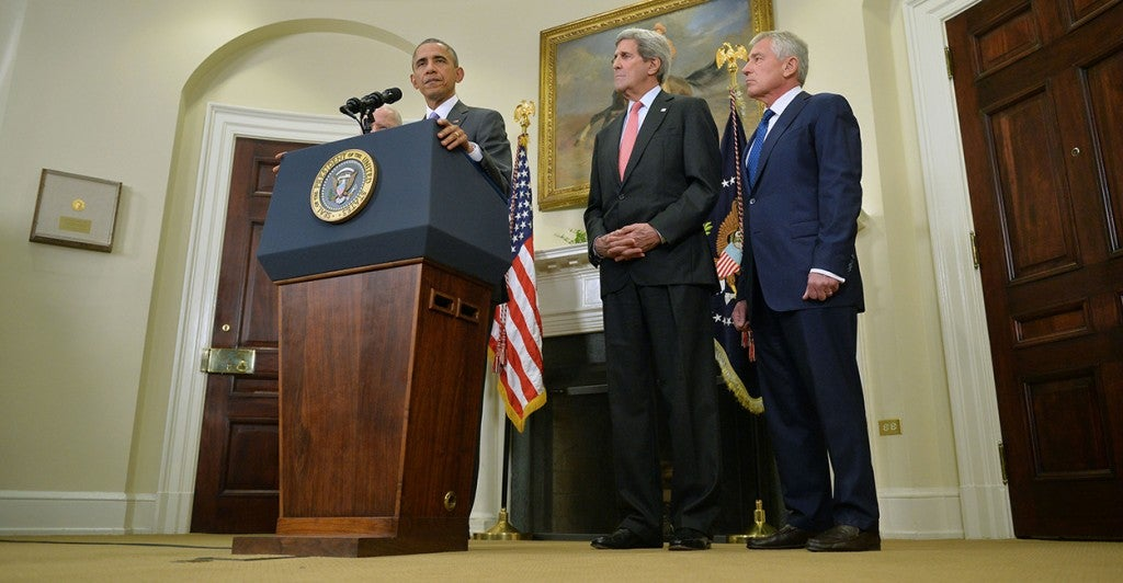 President Barack Obama speaks on requesting Congress to authorize military action against ISIS, at the White House in Washington, D.C. on Feb. 11, 2015. Obama was joined by Secretary of State John Kerry and Secretary of Defense Chuck Hagel. (Photo: Kevin Dietsch/UPI/Newscom)