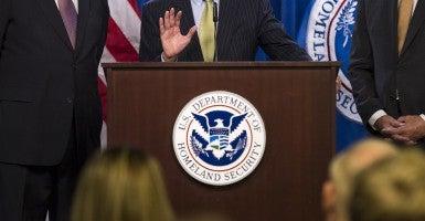 Former DHS Secretary Michael Chertoff, Secretary Jay Johnson, and former Secretary Tom Ridge, speak on the need for Congress to pass a full-year appropriations bill Feb. 25. (Photo: Kevin Dietsch/UPI/Newscom)