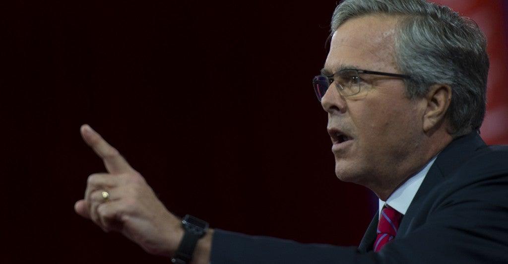 Former Florida Gov. Jeb Bush speaks at CPAC in National Harbor, Md., Feb. 27, 2015.  (Photo: Molly Riley/UPI)