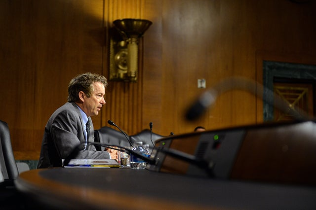 Paul questions a witness during a Senate Foreign Affairs Committee hearing on President Obama's request for authorization to use force against the Islamic State. (Photo: Kevin Dietsch/UPI)