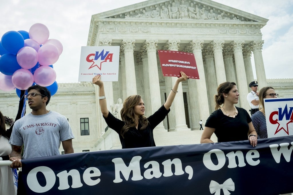 Traditional marriage proponents in front of the United States Supreme Court in Washington, D.C., on June 26, 2015. (Photo: Pete Marovich/UPI/Newscom)