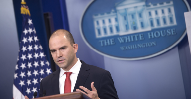 "Ben Rhodes played a leading role in selling the Iran nuclear deal by arguing that the deal strengthens ""moderates"" in Tehran. (Photo: Kevin Dietsch/UPI/Newscom)"