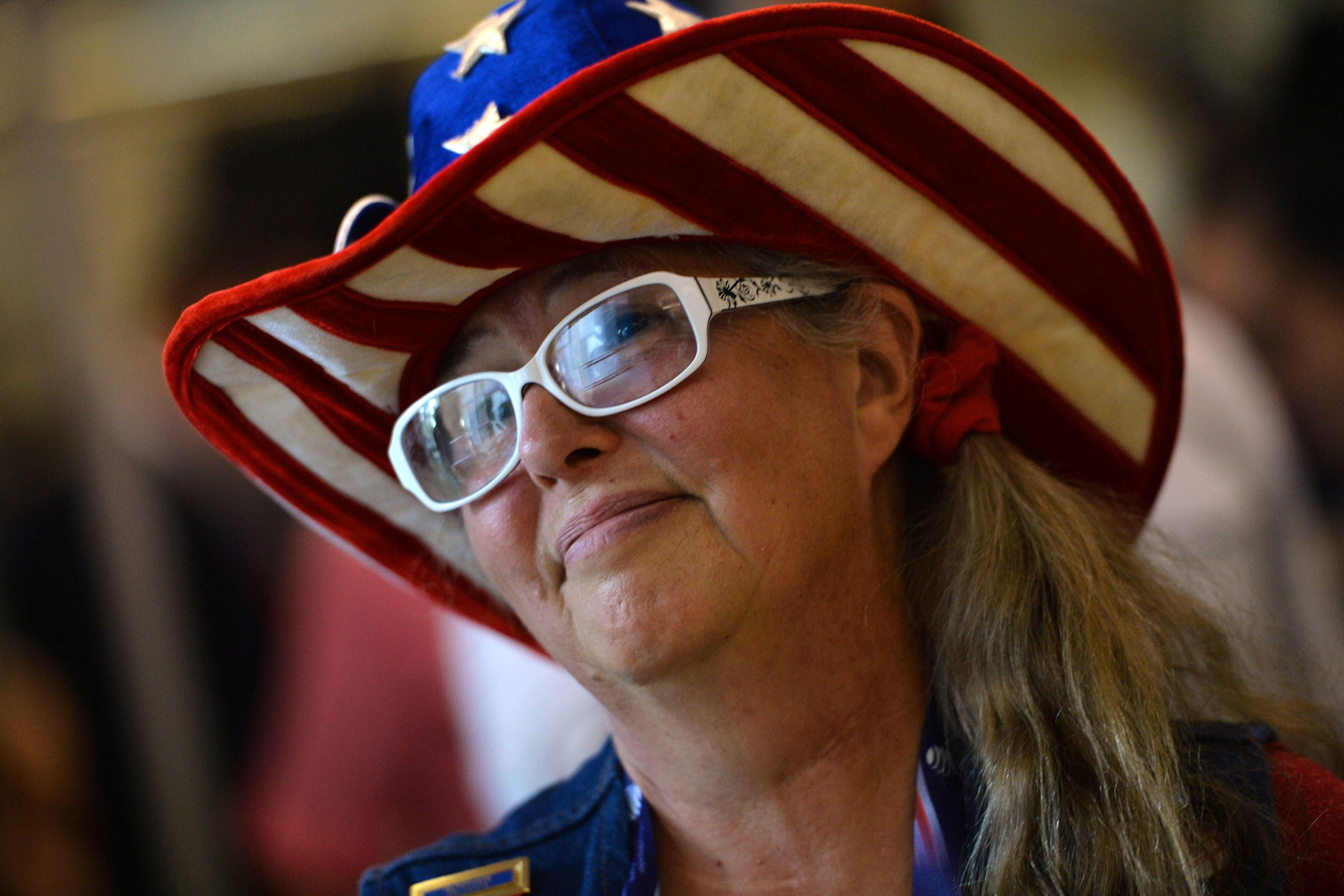 A delegate from Montana sports a star-spangled cowboy hat. (Photo: Kevin Dietsch/UPI/Newscom)