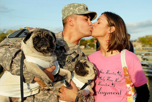 U.S. Army Spc. Leo Leroy gets a kiss from his wife and a welcome from his dogs Yoshi and Bruiser at a homecoming ceremony on Fort Hood, Texas, Nov. 28, 2009. Leroy returned after a year in Qayarrah in northern Iraq. (Photo: U.S. Army photo by Spc. Sharla Lewis)