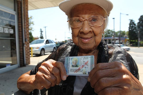93-year-old Viviette Applewhite holds up the free voter ID she obtained in Philadelphia. Photo: Michael Bryant/Philadelphia Inquirer/MCT