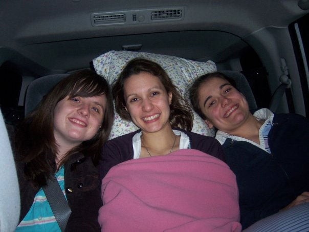 With two of my college friends, late at night as we drove to San Francisco sophomore year for the pro-life Walk for Life held annually. Each year, many students at my college made the trek to attend the walk. (Photo: Courtesy of Katrina Trinko)