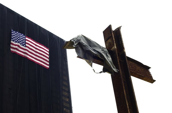 Iron girders form a cross that has become a memorial at Ground Zero