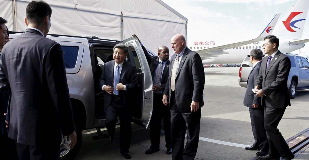 Chinese President Xi Jinping arrives at Boeing headquarters in Washington state on Wednesday. (Photo: Reuters/Jason Redmond/Newscom)