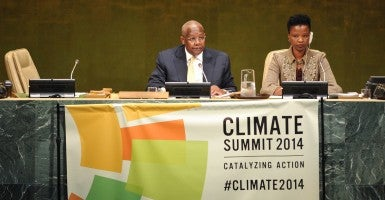 Sam Kutesa, president of the 69th session of the UN General Assembly, speaks during the Climate Summit at the UN headquarters in New York, on Sept. 23, 2014. (Photo: Xinhua/Niu Xiaolei/Newscom)