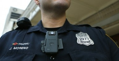 A San Antonio police officer wears a body camera. (Photo: Bob Owen/ZUMA Press/Newscom)