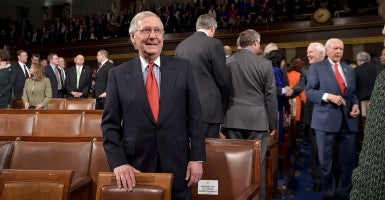 Senate Majority Leader Mitch McConnell waits for the start of the State of the Union. (Photo: Mandel Ngan/Newscom)