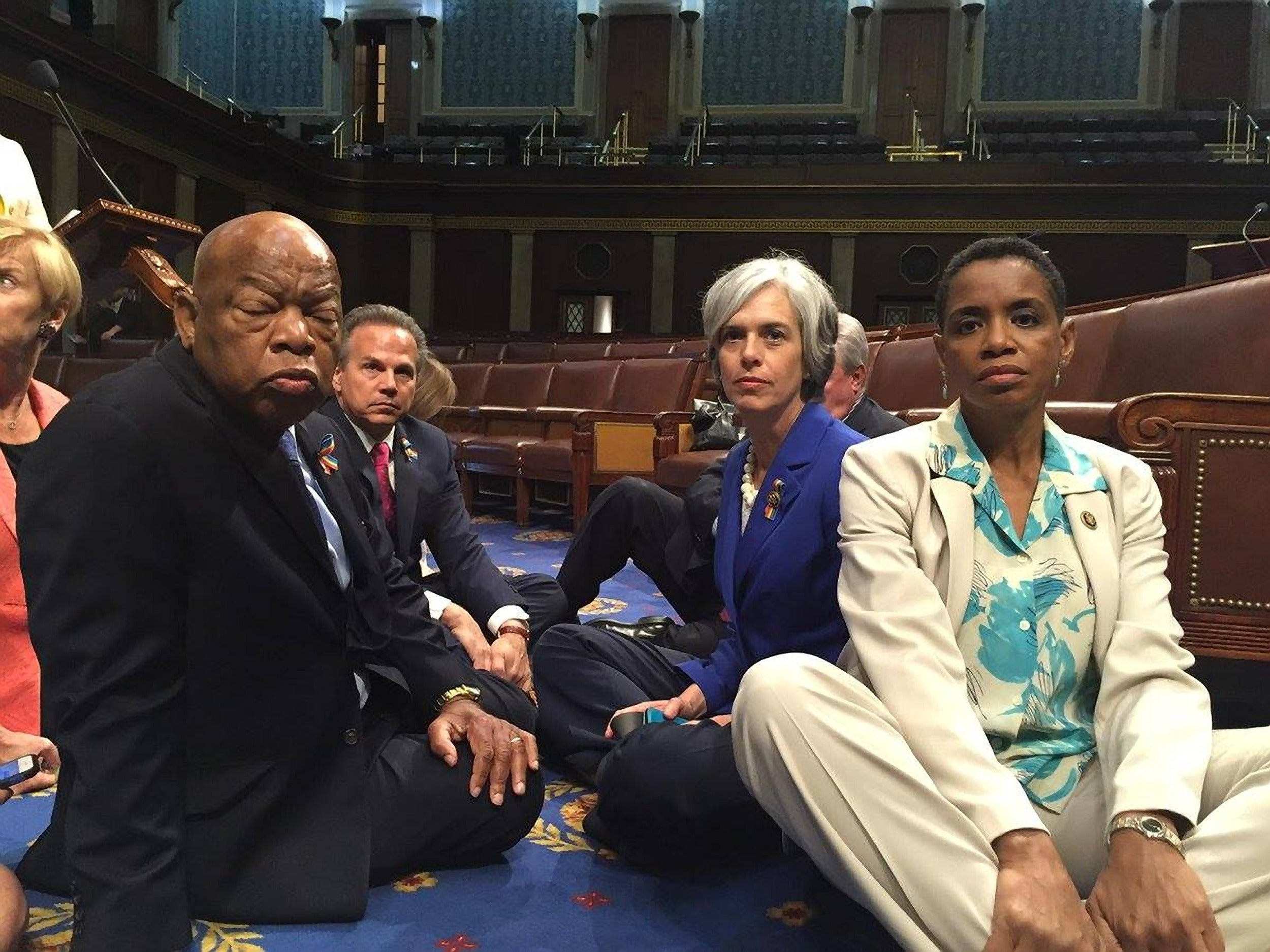 "Democrats held up the House floor, June 22, demanding a vote on ""no fly, no buy"" gun control measures. (Photo: Donna Edwards/ZUMA Press/Newscom)"