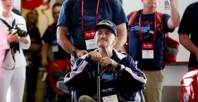 WWII veterans from Palm Beach County and the Treasure Coast on a 2013 Honor Flight arrive at Reagan Airport. (Photo: Gary Coronado/The Palm Beach)