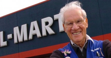 A picture of Christy McDermott, a Wal-Mart greeter who loves his job. (Photo: Dick Loek/Toronto Star/Newscom)