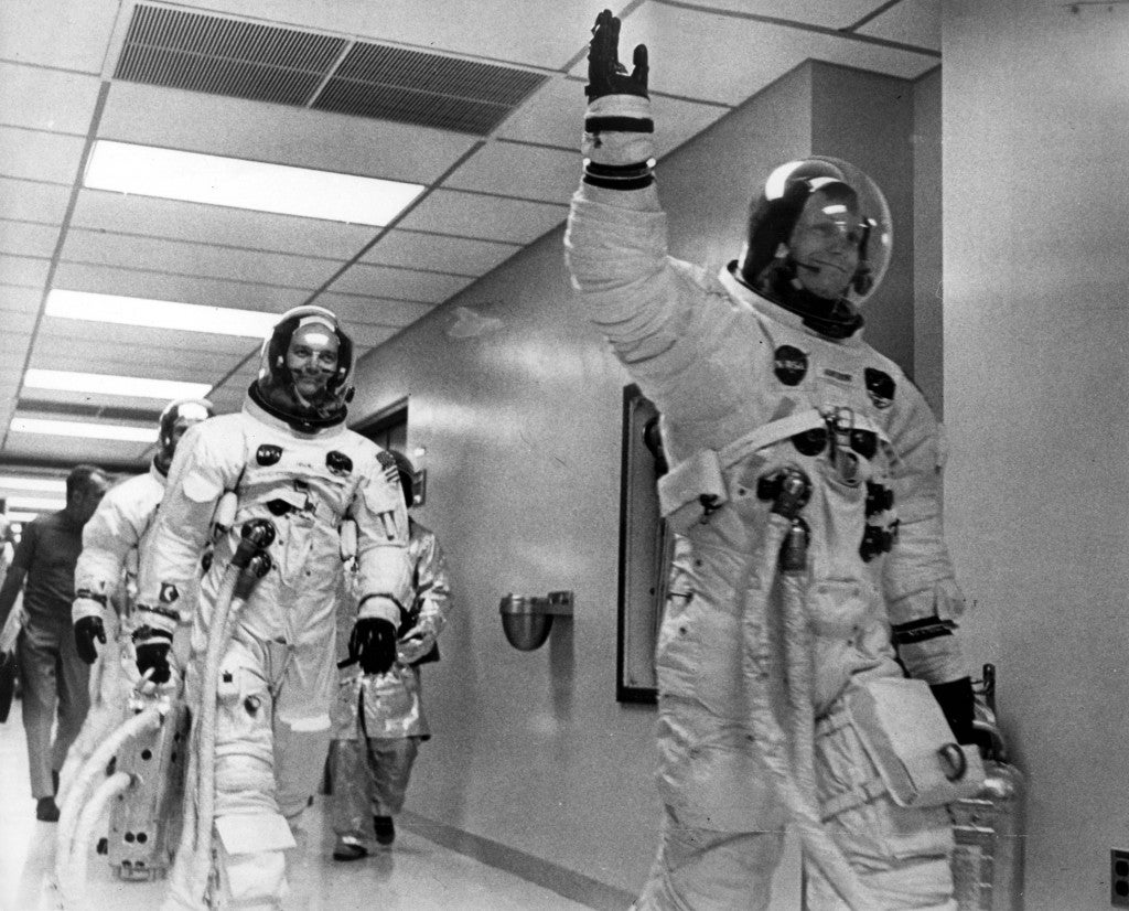 The Crew Members of Apollo 11 seen as they leave the Space Center ready to head to the moon. (Photo: Keystone Pictures USA/ZumaPress/Newscom)