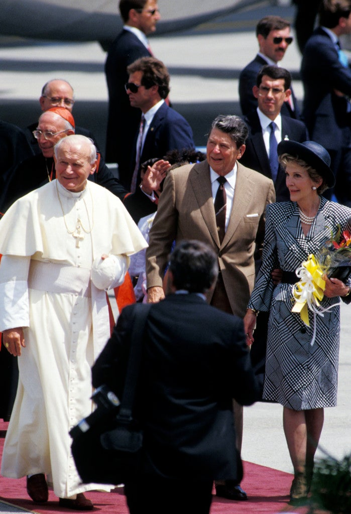 From September 10 - 19, 1987, John Paul II visited Miami, Columbia, SC, New Orleans, San Antonio, Phoenix, Los Angeles, San Francisco, Detroit. Here is seen in Miami with Ronald and Nancy Reagan. (Photo: Arthur Grace/ZUMAPRESS.com/Newscom)