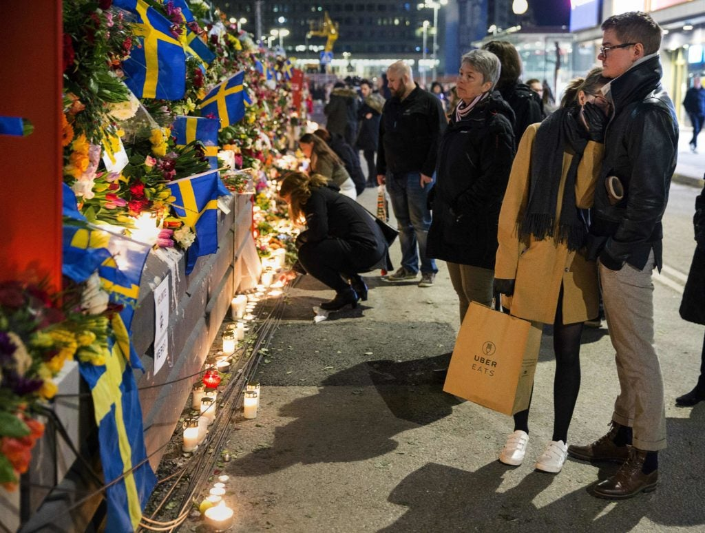 Mourners pay their respects to the victims of a April 7 terrorist attack in Stockholm, Sweden. (Photo: Aftonbladet/ZUMA Press/Newscom)