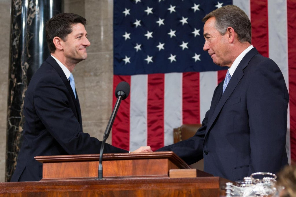 Before retiring last year, former House Speaker John Boehner (right) reached a two-year budget deal intended to make the job easier for his successor, Paul Ryan. (Photo: Caleb Smith/ZUMA Press/Newscom)