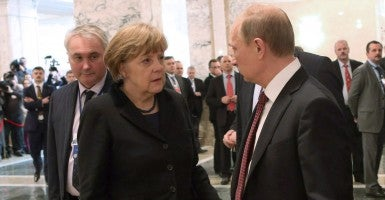 Germany's chancellor Angela Merkel and Russia's president Vladimir Putin. (Photo: Tass/TASS/ZUMA Wire/Newscom)
