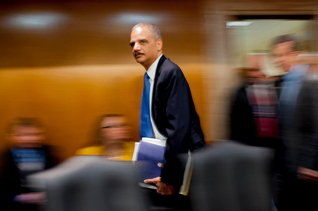 Attorney General Eric Holder arrives to testify before the Senate Appropriations Committee on Capitol Hill in 2012 about the FY2013 budget for the Justice Department. (Photo: Pete Marovich/Newscom)