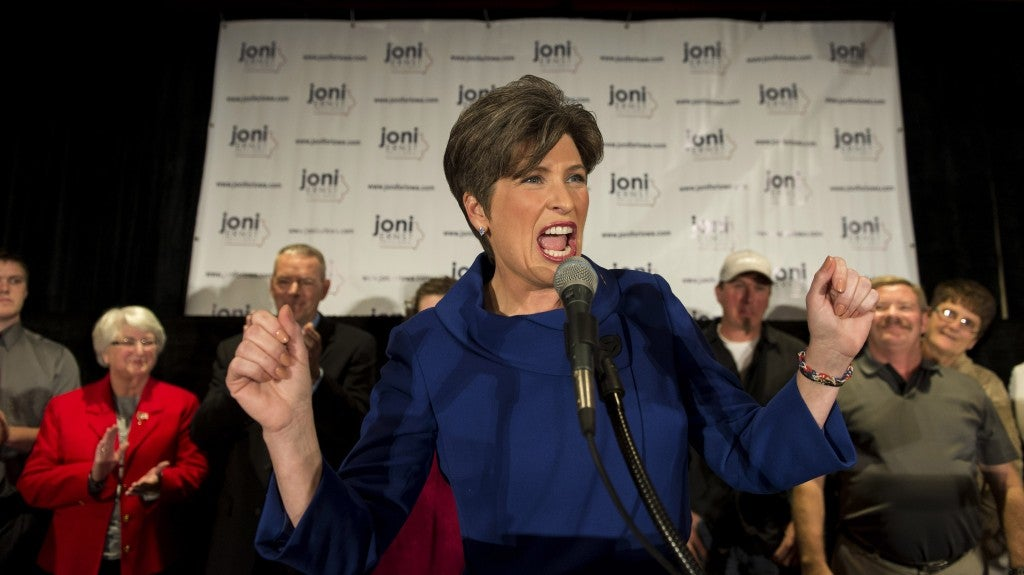 Newly elected Iowa Senator Joni Ernst makes her victory speech at the Iowa GOP election night party at the West Des Moines Marriott. (Photo: Newscom)