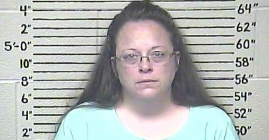 This photo made available by the Carter County Detention Center shows Kim Davis, a Kentucky county clerk who was jailed today after a judge found her in contempt of court for her refusal to issue same-sex marriage licenses. Five of her deputies agreed to comply with the law. (Photo: Carter County Detention Center/ZUMA Press/Newscom)