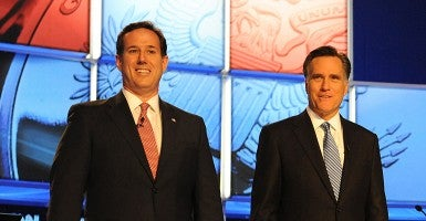Two 2012 Republican contenders for president, Rick Santorum and Mitt Romney, look to return in 2016. (Photo: Jason Moore/Newscom)